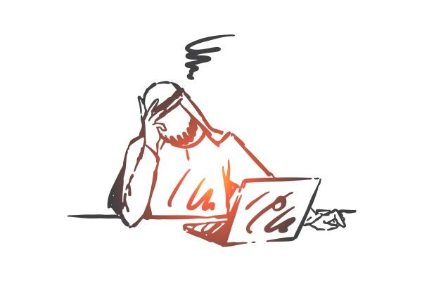 stress depression burnout concept sketch hand