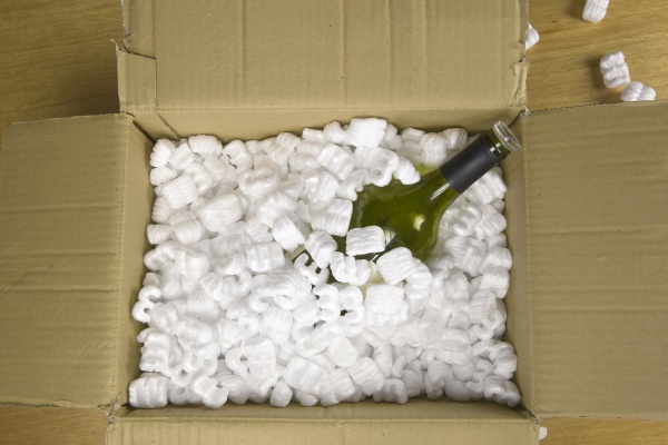 wine bottle in fragile delivery package