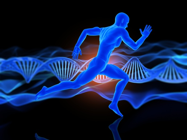 3d medical background with running male