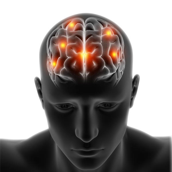 3d medical figure with brain highlighted