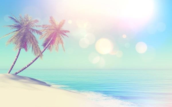 3d retro styled tropical landscape with