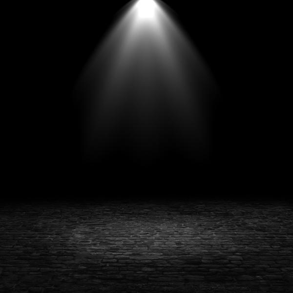 3d spotlight shining down into a