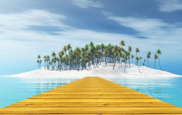 3d wooden jetty leading to a