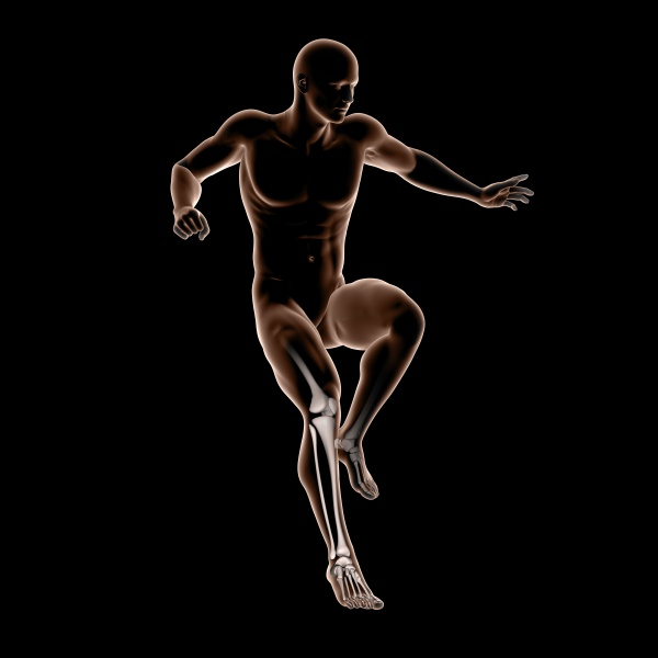 3d male medical figure jumping with