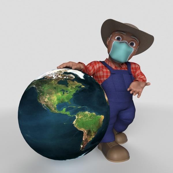 3d cartoon farmer character