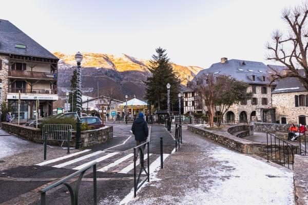 main street of famous ski resort