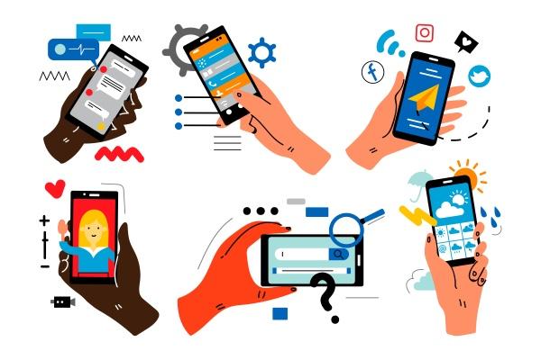 hands with smartphones doodle set