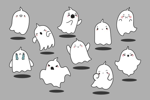 ghosts doodle set