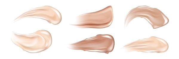 realistic skin cream strokes set collection