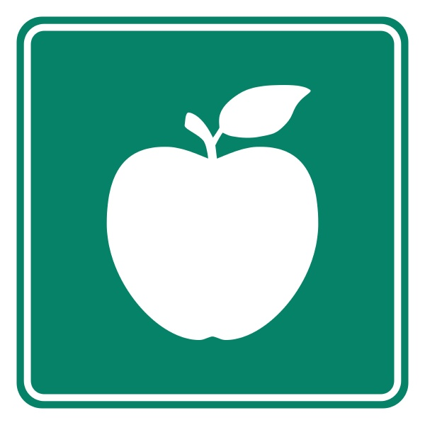 apple and road sign