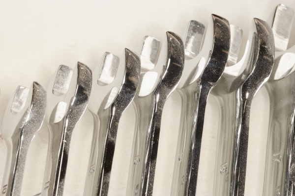 metal spanners lined up in size