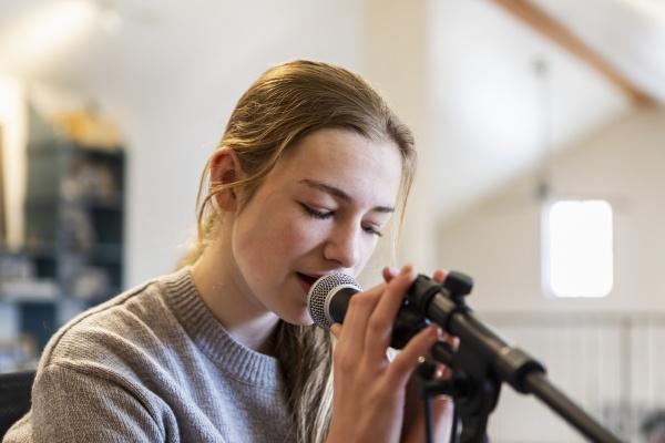 fourteen year old teenage girl playing