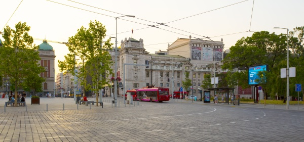 the red trolleybuses at students square