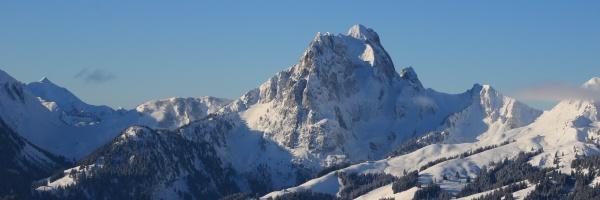 gummfluh in winter mountain near