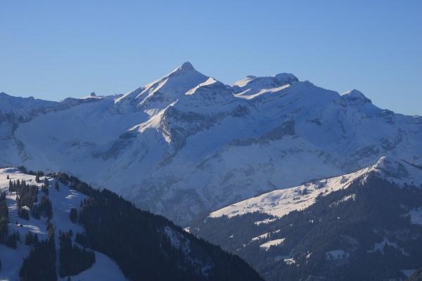mount oldehore and diablerets glacier winter