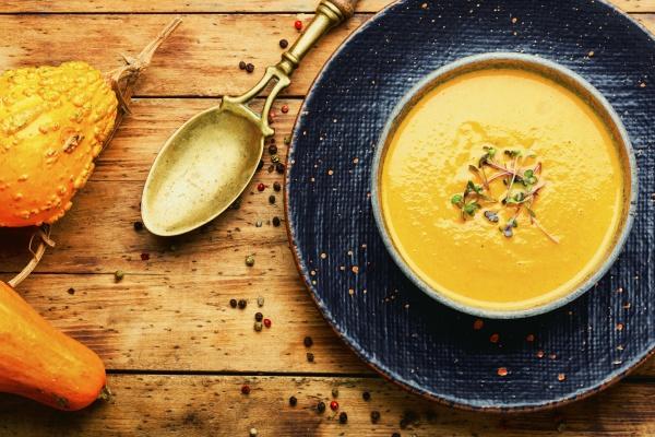autumn pumpkin soup top view
