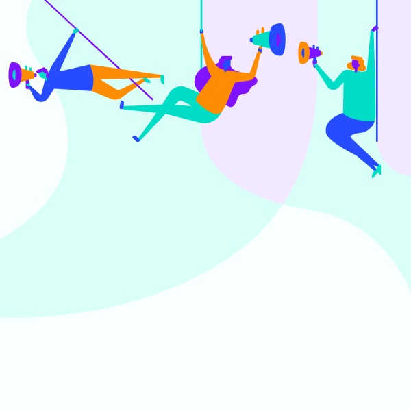 illustration of people hanging at the