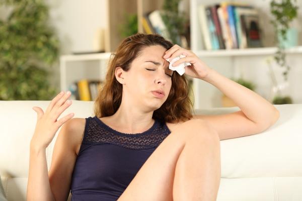 woman complaining suffering heat stroke drying