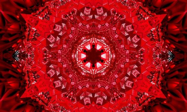horror red star kaleidoscope pattern wallpaper