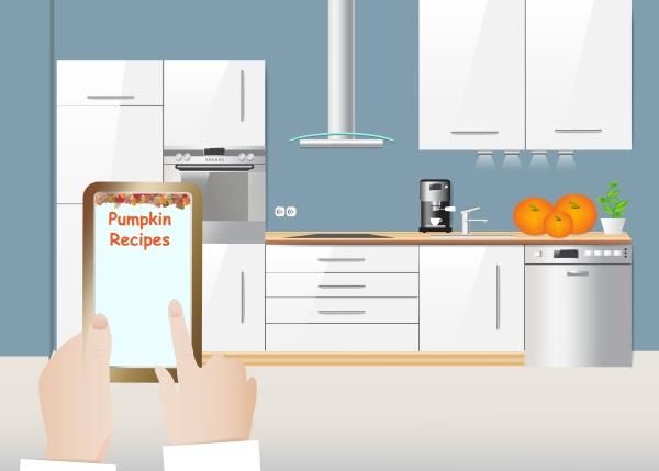 pumpkin recipes concept and white kitchen