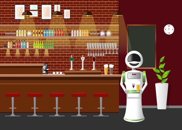 empty bar counter with automatic robot
