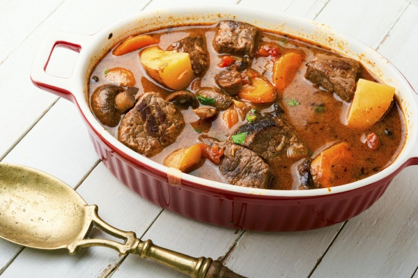 ragout with beef and mushrooms food