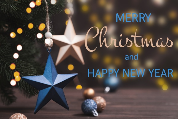 greeting card with inscription merry christmas
