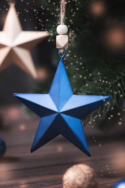 christmas composition with blue and beige