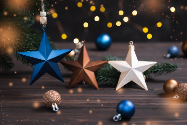 christmas composition with decorative stars and