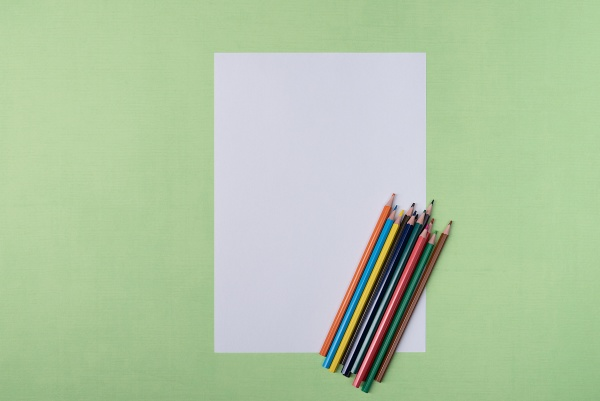 a blank white sheet and colored