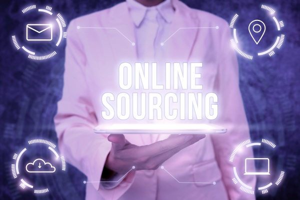 sign displaying online sourcing business approach