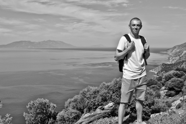young traveler hiker with natural coastal