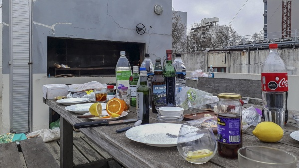 outdoor rooftop lunch preparation