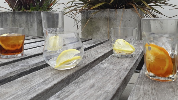 vermouth drinks over wooden table