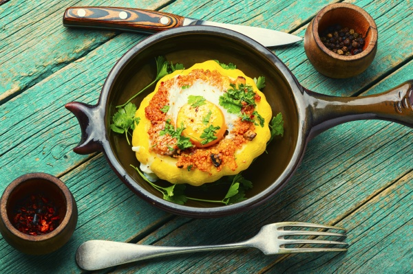 baked stuffed squash or patisson