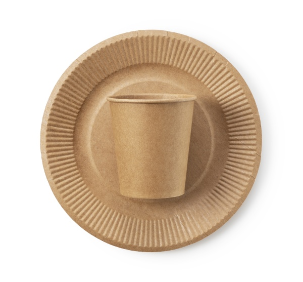 disposable paper cups and plates on