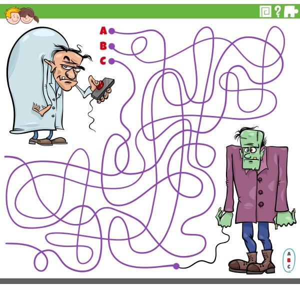 maze game with cartoon evil scientist