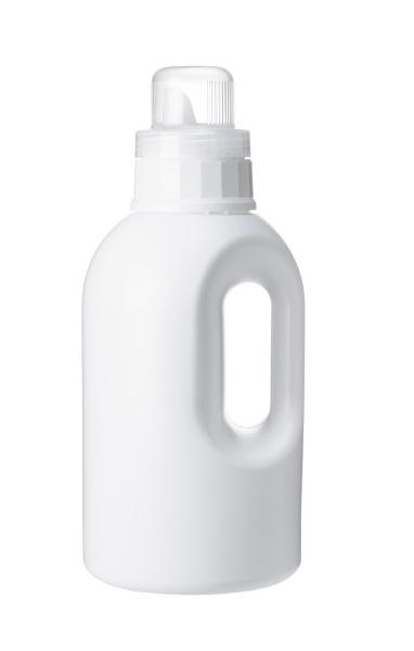 plastic bottle of detergent on white