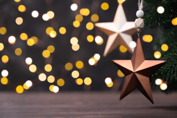 christmas composition with brown stars on
