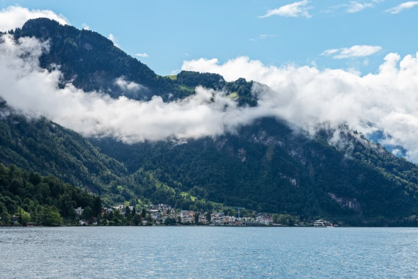 landscape with lake lucerne and alps