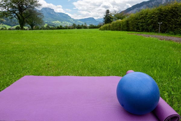fitness mat and ball on the