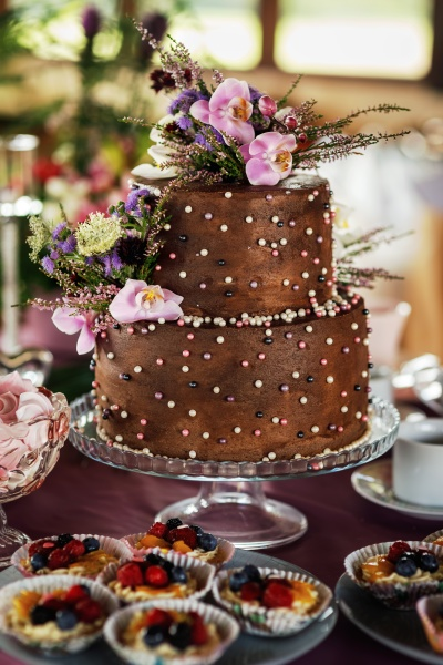 two tiered chocolate decorated with flowers