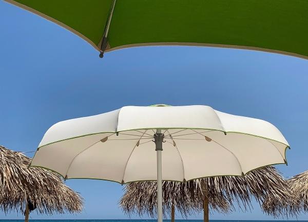 beach umbrellas and sea in sicily