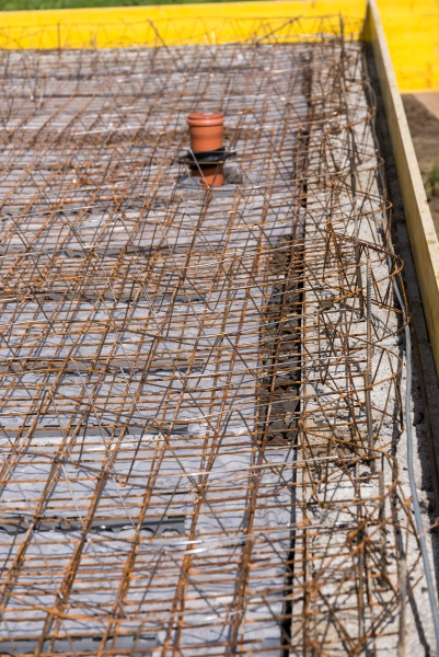 structural steel lattice on construction site