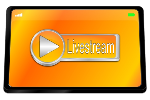 tablet computer with orange livestream button