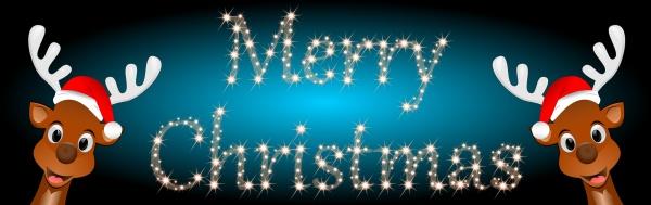 reindeer wishing merry christmas on glossy