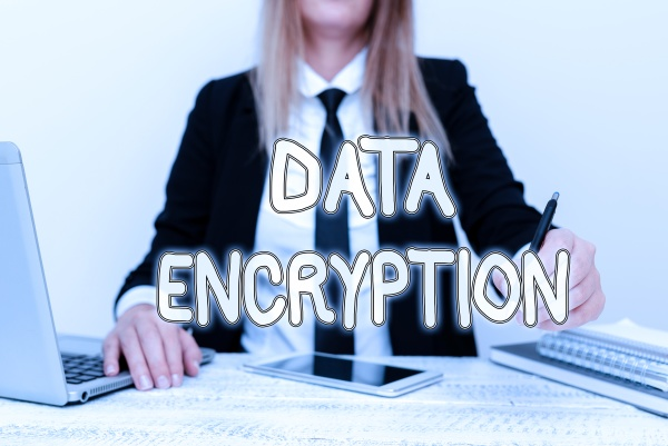 text caption presenting data encryption word