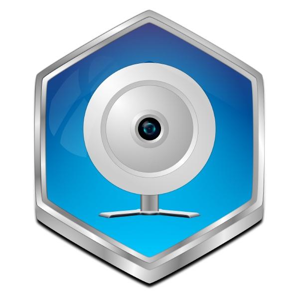 button with webcam blue 3d
