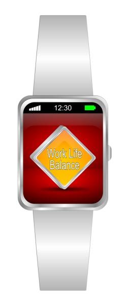 smartwatch with orange work life balance