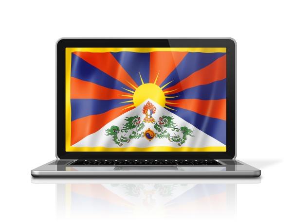 tibet flag on laptop screen isolated